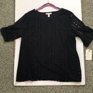 NWT Dana Buchman black lace tee sizE XL